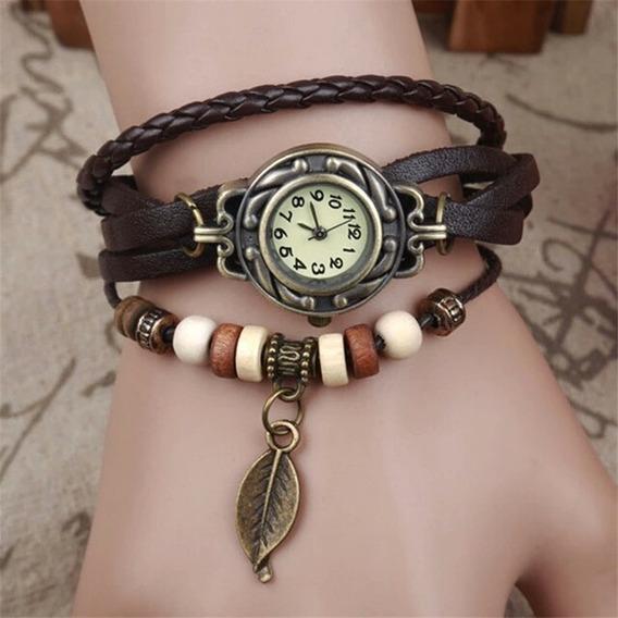 Relógio Pulseira De Couro, Pingente Vintage Feminino