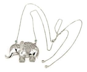 Colar Elefante Gravatinha Zirconias Rodio