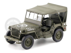 Miniatura Jeep Willys 1941 Militar C/capota Verde 1/18 Welly