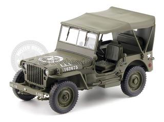 Miniatura Jeep Willys 1941 Militar C/capota Verde 1/18 Welly