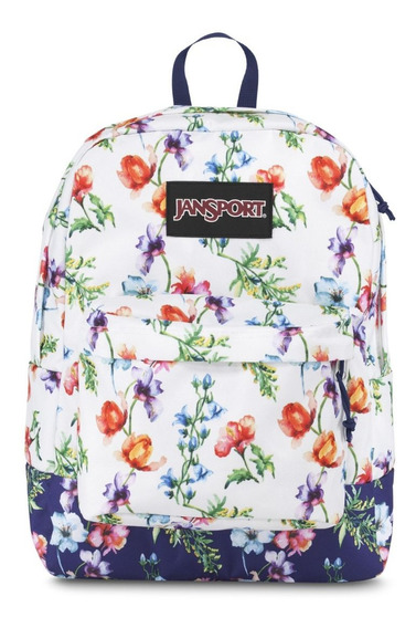 Mochila jansport black label blanca Y Azul Con flores
