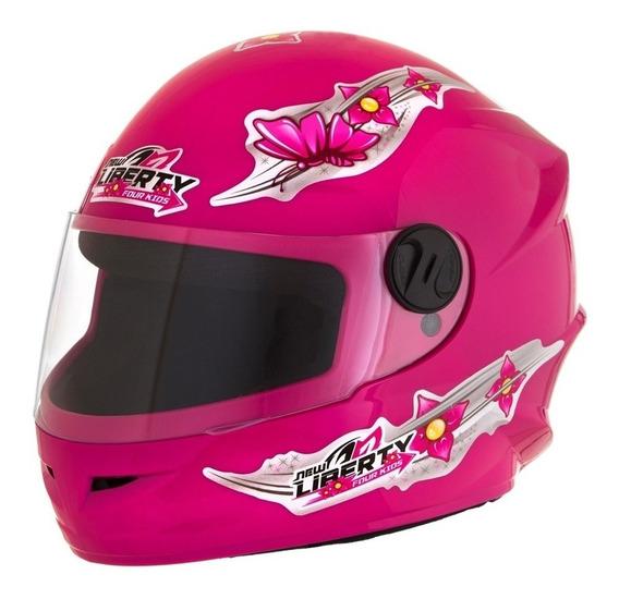 Capacete Moto Infantil Pro Tork Liberty 4 Kids Girls Feminino Menina 54 Rosa