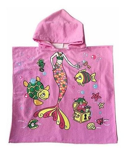 Poncho Con Capucha Para Niñas Happyme Diseño De Sirena