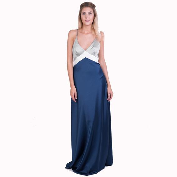Vestido Fiesta Largo Azul Plata Talle Xl Somos Fabricantes