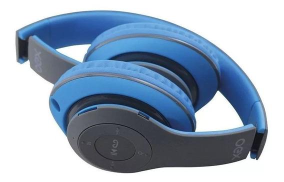 Fone Headset Bluetooth Vibe Dobrável Azul Hs304 Oex