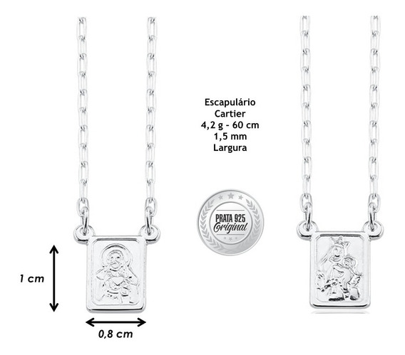 Escapulário Cartier Masculino Prata Italiana 925 4,2g 60 Cm