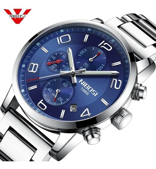 Relógio Masculino Nibosi 2328 Original 30 Metros Fundo Azul