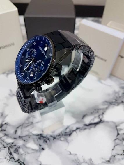 Relógio Emporio Armani Ar5921 Preto Azul Cronógrafo Original