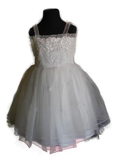 Vestido Blanco Nena Fiesta Tul Lentejuelas Bordado