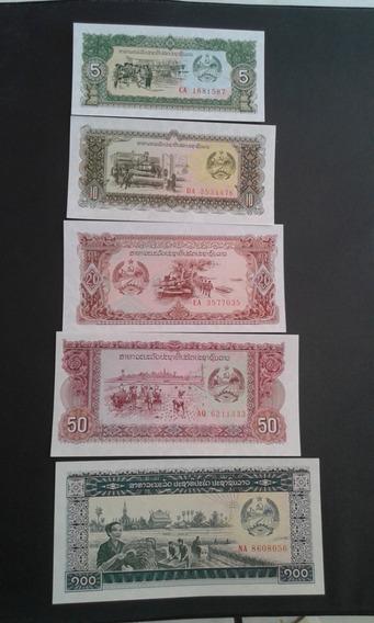 Lote 5 Cédulas Laos 5, 10, 20, 50, 100 Kip Fe