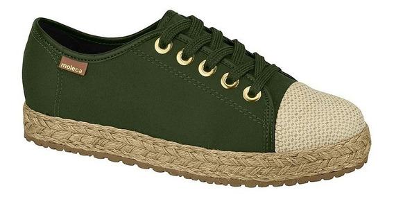 Tênis Feminino Moleca 5617427 Verde Musgo Militar Flatform