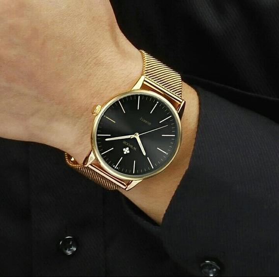 Relógio Social Masculino, Aço Inoxidável, Aprova De Água +nf