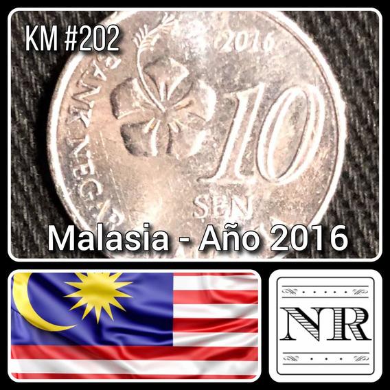 Malasia - 10 Sen - Año 2016 - Km # 202 - Flor