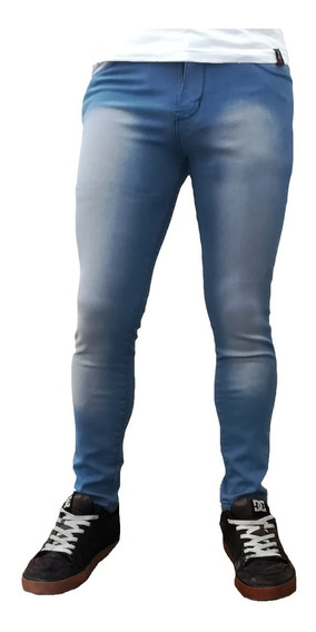 Jean Chupin Azul Desgastado Hombre Elastizado Maxima Calidad