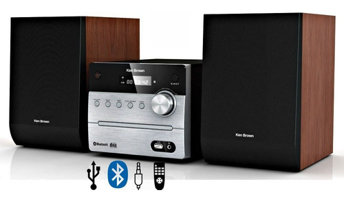Minicomponente Ken Brown Bluetooth Caja Madera Mp3 Usb Dx590