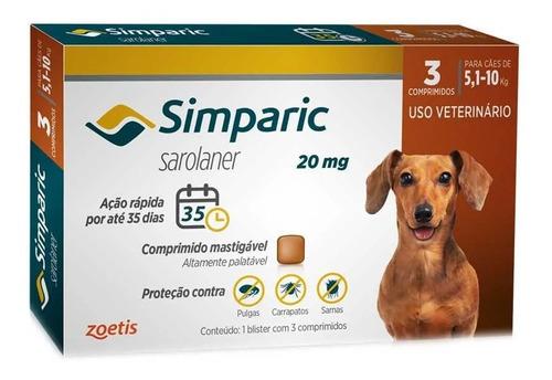 Imagem 1 de 4 de Simparic 20mg 5 A 10kg C/3 Comprimidos