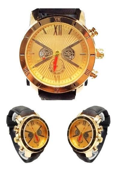 Kit C/ 05 Relógio Masculino De Couro + Caixa + Bateria Extra