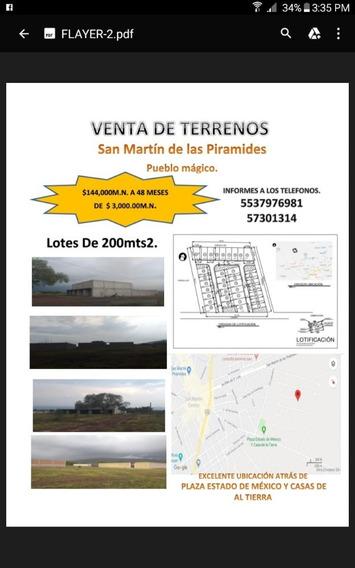 Terrenos Buena Ubicacion En San Martín De Las Pirámides
