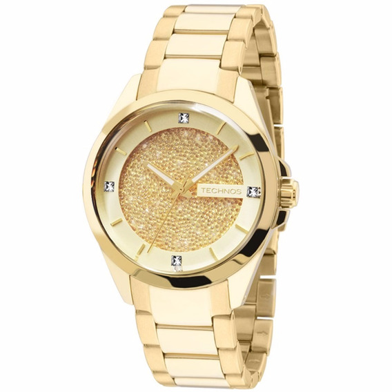 Relógio Technos 203aaa/4x Feminino Swarovski Dourado