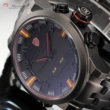 Shark Led Date Black Red Quartz Stainless Steel Men Sport2