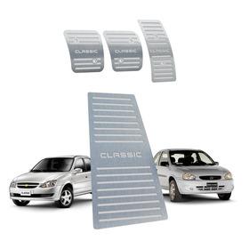 Kit Pedaleira + Descanso Chevrolet Classic Manual Aço Inox