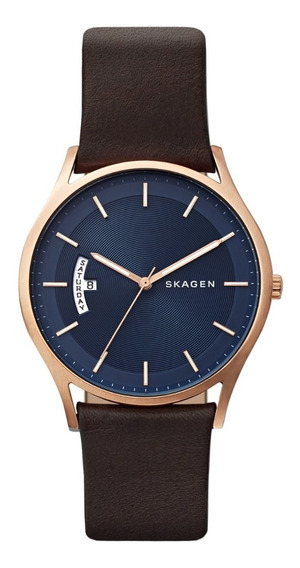 Reloj Caballero Skagen Holst Skw6395 Color Café De Piel