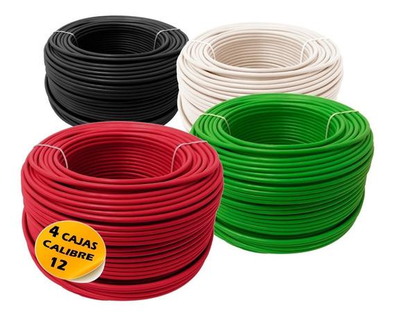 Pack Con 4 Cajas Cable Calibre 12 De 100m Cada Caja. Alucobre. Somos Fabrica