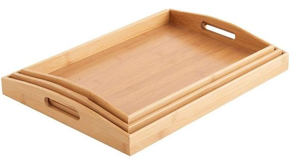 Bandejas Bamboo Set X 3 Bandejas Kit Desayunos