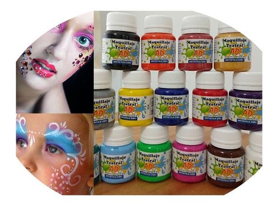 Kit Maquillaje Artistico Infantil Teatral Ad Set 15 Colores