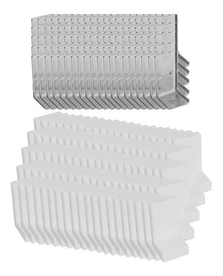 Pacote C/100 Cantoneiras + Suporte C/capa Plástica - Branca