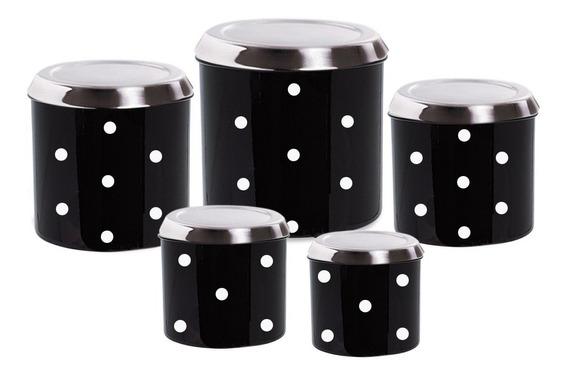 Jogo Potes Mantimentos Em Alumínio Cozinha 5 Peças