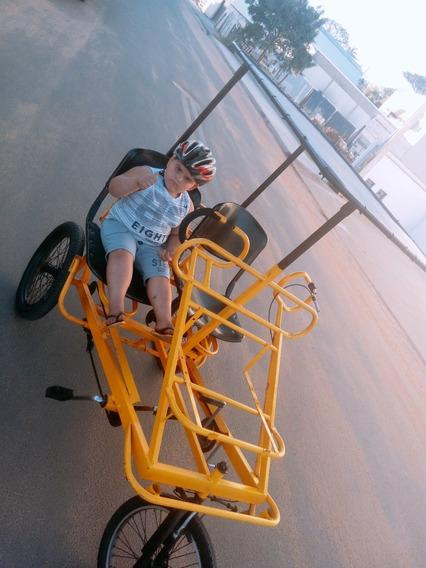 Triciclo Família A Pedal Aro 20 E Com Cobertura (desapego)