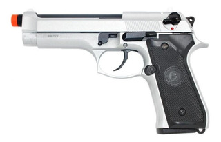 Pistola Airsoft Gas Gbb M9 Inox Blowback Full Metal 6.0 Case