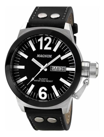 Relógio Militar Magnum Soviet Preto Pulseira Couro Original