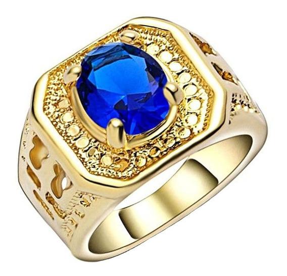Anel Banhado Ouro Formatura Feminino Curso Safira Azul 836