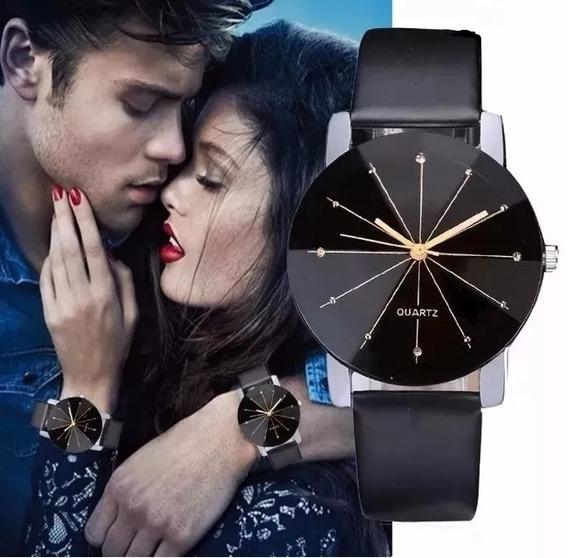 Promoção Relógio Feminino Quartz Pulseira De Couro Preto