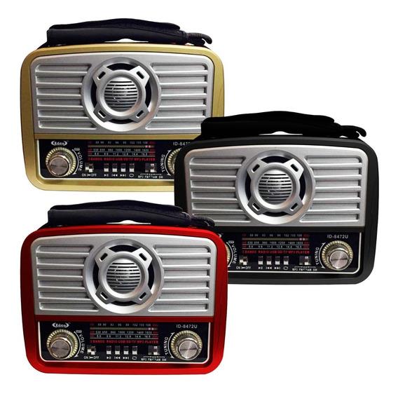 Rádio Retrô Lanterna Portátil Am Fm Usb Bateria Recarregável