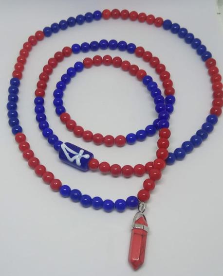 Guia De Ogum Vermelha Azul Porcelana 154 Contas C Pingente