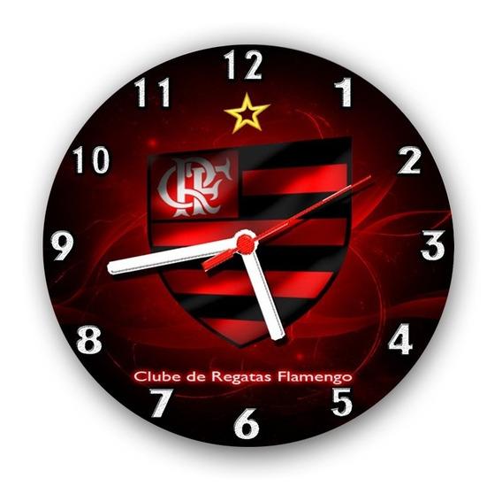 Relógio Parede Decoração Times De Futebol Flamengo - 24 Cm