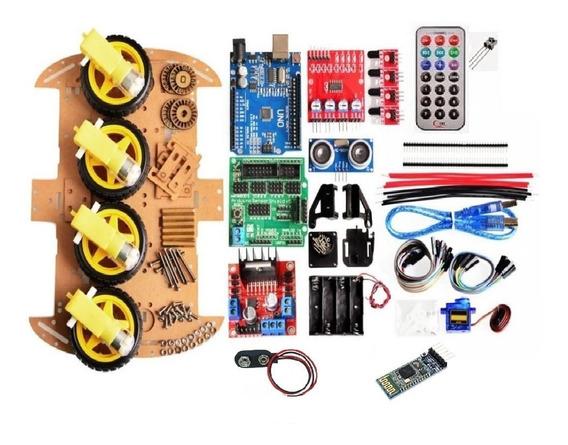 Kit 2 Chassis Smart Car 4 Rodas Arduino Completo L298n Sr04