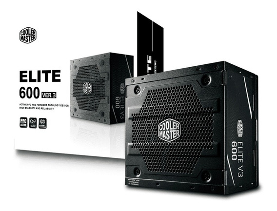 Fonte 600w Cooler Master Elite V3 Pfc Ativo S/ Cabos Bivolt