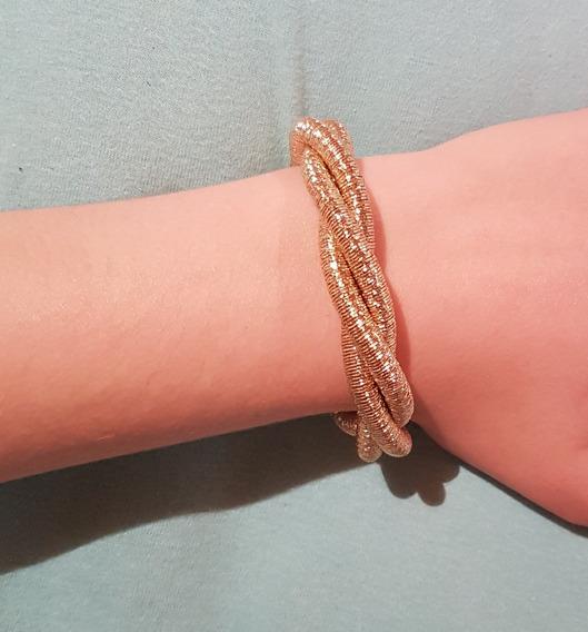 Pulseira Bracelete Feminino Dourado Grosso Estilo Corda Moda