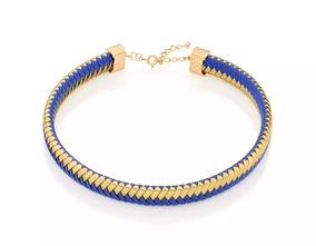 Gargantilha Rommanel Choker Couro Azul E Dourado 531936