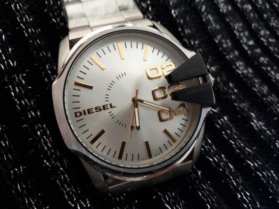 Relógio Original Diesel Prata Com Fundo Branco 10 Bar