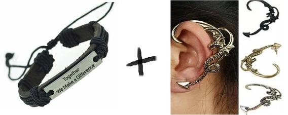 Kit Com 1 Pulseira Em Couro + 3 Piercing Ear Cuf - Envio Já