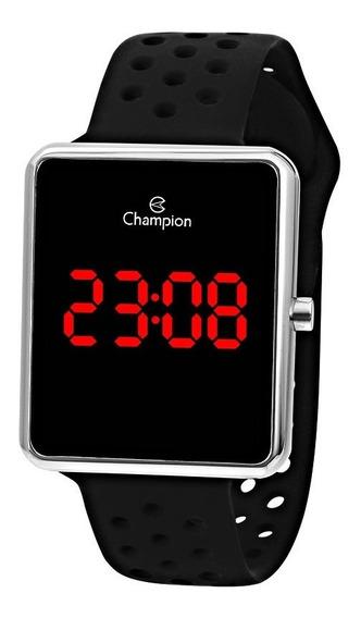 Relógio Feminino Prata Champion Digital Pulseira Preta