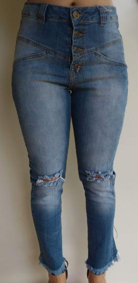 Calça Skinny Barra Desfiada Destroyed Botão Lady Rock Jeans