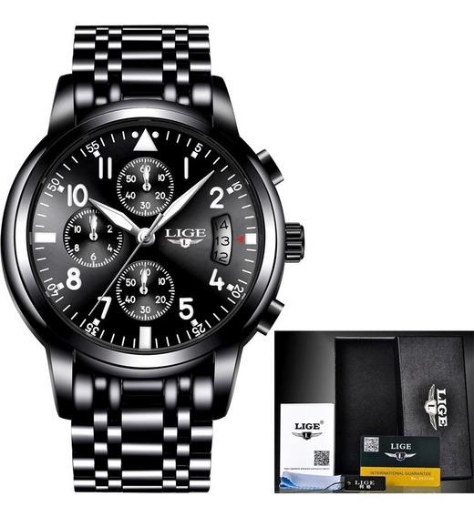 Relógio Masculino Militar Esportivo Luxo Lige Original