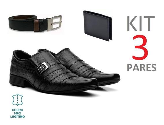 Kit 3 Pares Sapato Social Masculino Em Couro Legitimo Brinde