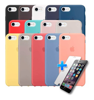 Carcasa Silicona Logo Apple iPhone 7 / 8 + Lamina De Vidrio